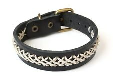 NEW Leather Braided Hemp Metal Buckle Bracelet Wristband Vintage Cuff Black