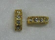 2 Spacer Slider Rondelle Beads 12x4mm Gold Tone Bead & Diamontes 2 Strand JF871