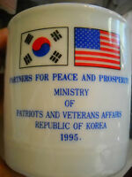 U.S. Korea Partners For Peace Ministry Patriots & Veterans Affairs 1995 Cup Mug