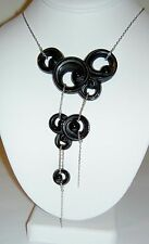 Authentic Lalique China Mood Lijiang Black Crystal Sterling SIlver Necklace NIB