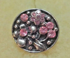 PINK FLORAL Rhinestone Interchangeable Noosa Ginger Snaps Button Charm 18mm