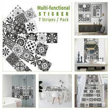 7pcs Black White Self-adhesive Bath Kitchen Wall Stair Tile Stickers 21x100cm
