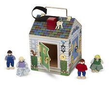 Melissa & Doug Wooden Doorbell Doll's House - Doorbell Sounds, 4 Dolls & Keys