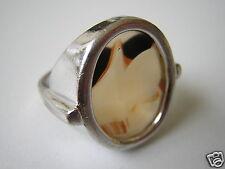 Alter 925 Sterling Silber Ring mit Landschaftsachat Scheibe 6,4 g/18,6 mm