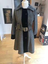 Marc Jacobs 4 Black And White Herringbone Tweed And Velvet Trench Coat - Size 12