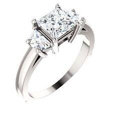 2.12 ct total Princes cut  & Halfmoon shape Diamond Engagement 14k Gold Ring