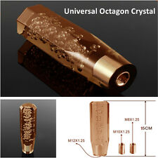 1xUniversal 150mm JDM Octagon Crystal VIP Manual Bubble Shifter Shift Knob Amber