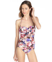Badgley Mischka Camilia Floral One Piece Swimsuit Multi-Color US 8 MSRP $138.00