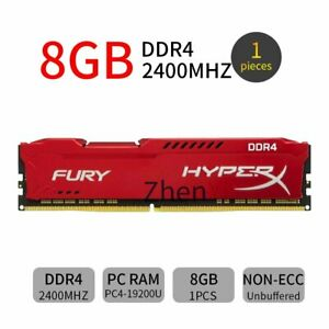 8GB 4GB PC4-19200U DDR4 2400MHz 288PIN Red Desktop Memory PC RAM For HyperX FURY