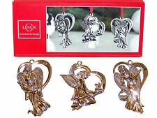 NEW in Box Lenox American by Design Set 3 ANGELS Silverplate Christmas ORNAMENTS
