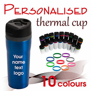 Personalised travel thermal cup 350 ml *mug* your text/logo/name * GIFT *