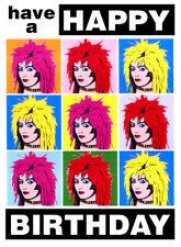 PUNK GOTH GIRL WOMAN FEMALE POP ART DESIGN BIRTHDAY CARD FREE POST 1ST CLASS