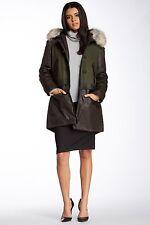 NWT Nicole Miller Military Dawn Parka Wool Cashmere Coat Fur Hood Jacket 8 M- L?