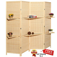 Outdoor Private Screen Deluxe Beige Bamboo 4 Panel Folding Room Divider Spa Room