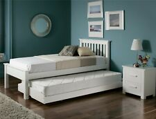 Guest / Children's Bed - White Wooden Single Bed with Guest Underbed 3ft