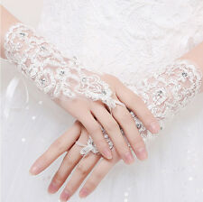 Fingerless lace bridal gloves Rhinestone wedding bridal gloves