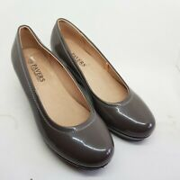 PAVERS - MINK BROWN PATENT LEATHER COURT SHOES WEDGE HEEL UK 3 *NEW*