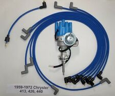 CHRYSLER 413-426-440 1959-72 BLUE Small Female HEI Distributor, Spark Plug Wires