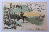 Neujahr, Musketier, Rehe, Eichhörnchen, Hase,   1898  ♥  (8756)