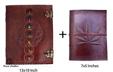 Seven Medieval Stone with Leaf Leather Journal Handmade Book of Shadow Diary