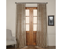 Exclusive Fabrics Grecian Taupe Printed Faux Linen Sheer Curtain 1 Panel 50 X 84