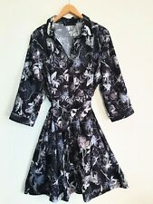 Trent Nathan Floral Print Belted Shirt Dress Size 18