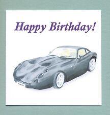 TVR Tuscan Classic Car Birthday Card, dark grey black