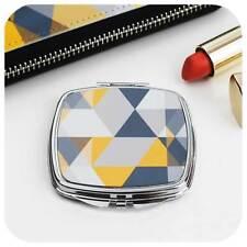 Scandi Geometric Compact Mirror, yellow & grey pocket mirror, travel mirror