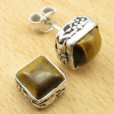 Silver Plated Jewelry Brand New Amazing Stud Earrings, Exclusive Tiger'S Eye