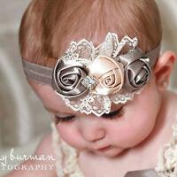 Baby Kinder Kleinkind Infant Blume Strass Stirnband Haarschmuck Band^ jgBCDE