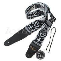 Electric Acoustic Guitar Bass Strap Polyester Leather End Soft Adjustable