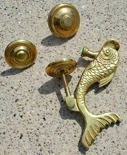 Vintage Brass Door Knocker Fish Asian