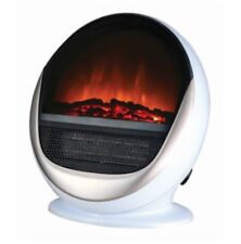 1.5Kw White Portable Freestanding Retro Oval Log Flame Effect Electric Fireplace