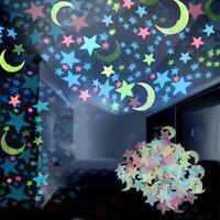 100 x Estrellas Lunas Brillan en la Oscuridad Calcomanias Para el Cuarto de Casa