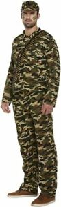 Adults Army Man Military Camouflage Commando Camo Soldier Fancy Dress Costume