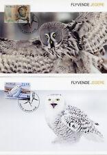Norway 2018 MAXI Birds Snowy Owl 3v Set Cards Birds of Prey Owls Hawks Stamps