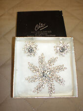 & Clip-on Earrings Set - Costume New Chic Accessories Silver Floral Brooch Pin