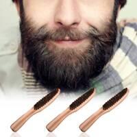 Men's Beard Brush Moustache Natural Wood Boar Bristle With Handle