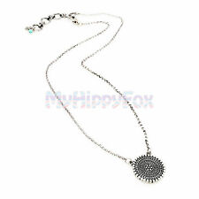 Lucky Brand Antiqued Silver Tone Tribal Medallion Coin Disc Pendant Necklace