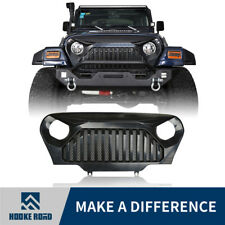 Black Front Gladiator Grille Cover with Mesh Inserts for 97-06 Jeep Wrangler TJ