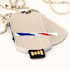 2 in 1 key USB 8gb Necklace Pendant Plate military - Color Silver