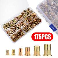 175pcs M3-M10 Set Rivet Nut Kit Mixed Zinc Steel Rivnut Insert Nutsert Threaded