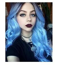 #1B/Blue Women's Long Ombre Long Wavy Natural Hair Two Tone Cosplay Wig Full Wig