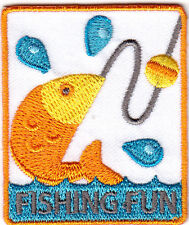 """FISHING FUN""-  Iron On Embroidered Applique Patch/ Words, Fish, Sport, Fishing"