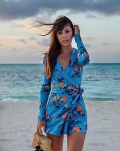 DIANE VON FURSTENBERG DVF $368 Celeste 100% Silk Floral Playsuit Romper Size 4
