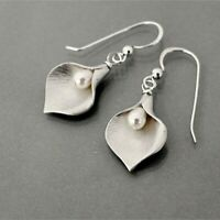 Jewelry 925 Silver Pearl Ear Hook Dangle Drop Petal Earrings Wedding Gift Lady