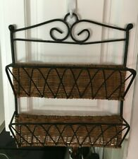 Black Metal With Wicker Letter Holder Wall Mount