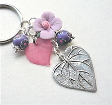 Purple Pink LEAF Flower KEYRING Ceramic Poly Clay Silver  KCJ3004