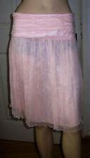 Knee Length Silk Patternless A-line Skirts for Women