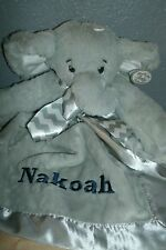 Elephant Gray Jungle Animal Snuggler Personalized Security Blanket Baby Blankie